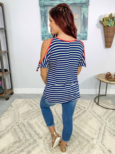 Keep Together Striped Coral Trim Cold Shoulder Top in Navy - Filly Flair
