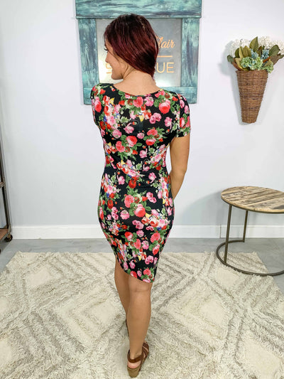 On Her Mind Vibrant Floral Short Sleeve Midi Dress in Black - Filly Flair