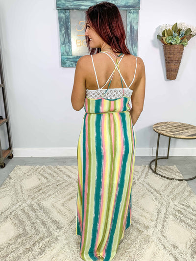 Gone Tomorrow Sleeveless Striped Maxi Dress in Teal - Filly Flair