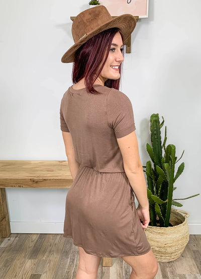 Cherish Yourself Dress Elastic Waist Rolled Sleeve Boat Neck in Mocha - Filly Flair