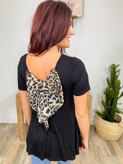 Hit The Boulevard Leopard Bow Tee Shirt Boat Neck in Black - Filly Flair