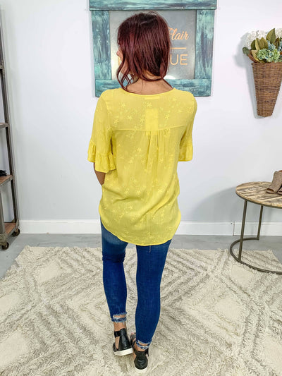 Back To The Garden Embroidered Crepton Tie Short Sleeve Top in Yellow - Filly Flair