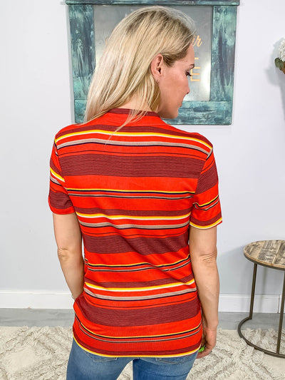 Easy Days Multi Striped Short Sleeve Top in Red - Filly Flair