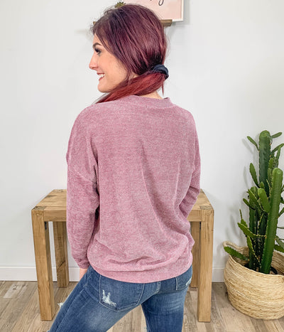 Hoping For Fall Knitted Long Sleeve Sweater Boat Neck in Mauve - Filly Flair