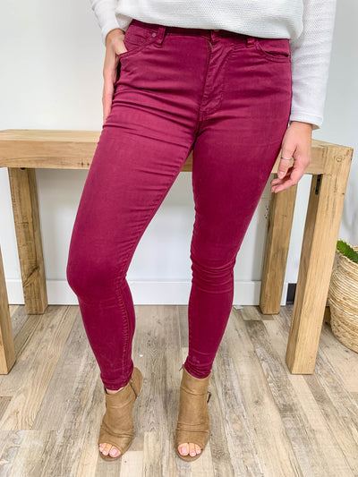 Being You Today Mid Rise Skinny Jeans in Burgundy - Filly Flair