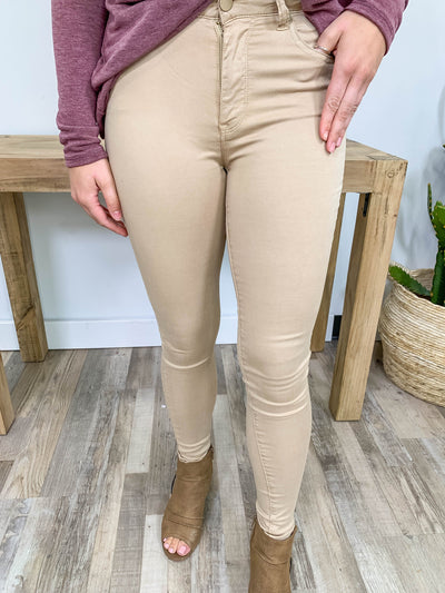 Being You Today Mid Rise Skinny Jeans in Khaki - Filly Flair