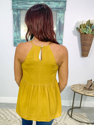 Walk The Line Crochet Lace Tank Top in Mustard - Filly Flair
