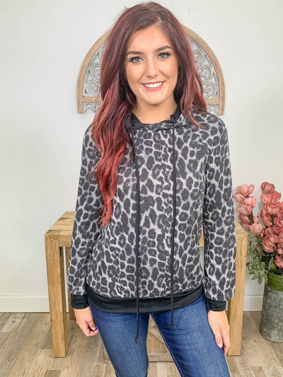 Here And Now Animal Print Long Sleeve Hoodie in Black - Filly Flair