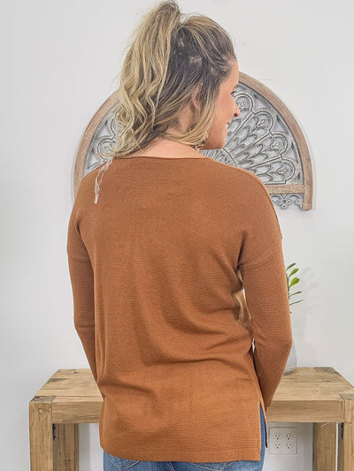 Falling for Fall Long Sleeve Sweater in Copper - Filly Flair