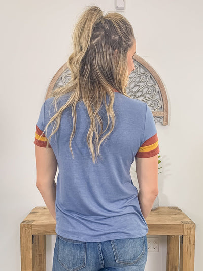 Stuck On You Striped Sleeve Tee Shirt in Denim Blue Mustard Wine - Filly Flair