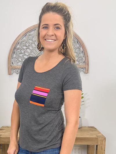 Taking On The Town Short Sleeve Serape Printed Top In Charcoal - Filly Flair