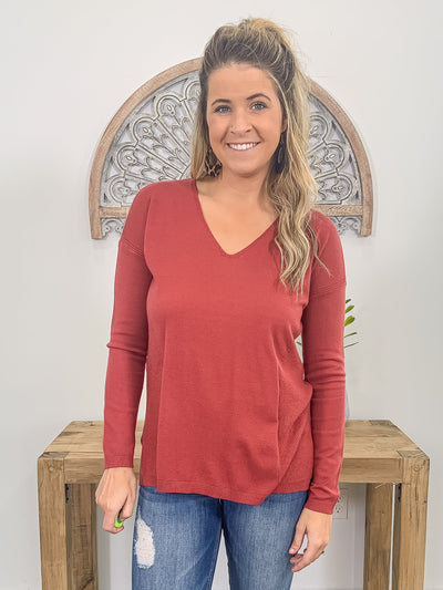 Cool Breeze Long Sleeve Sweater in Rust - Filly Flair