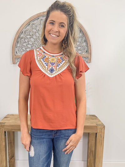 Old School Embroidered Detail Flare Short Sleeve Top in Rust - Filly Flair
