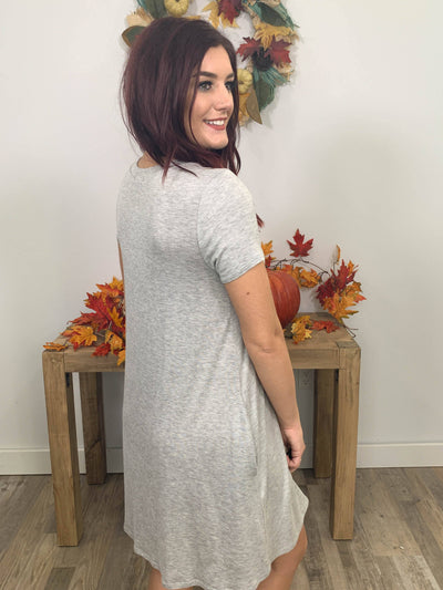 Like Your Style Dress Pockets Short Sleeve Criss Cross Key Hole Neckline in Heather Grey - Filly Flair