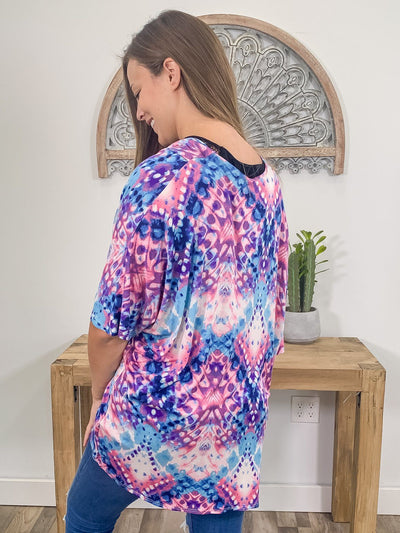 Memory Lane Tie Dye Cardigan in Sky Blue Purple Pink - Filly Flair