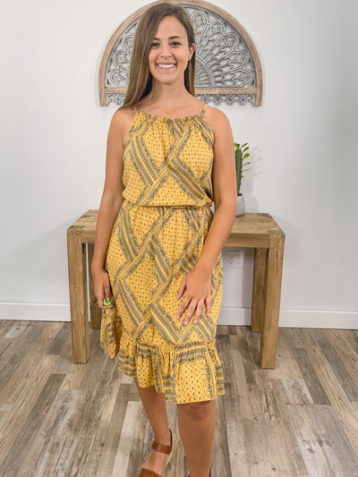 This Is My Wish Printed Spaghetti Strap Maxi Dress in Mustard Navy - Filly Flair