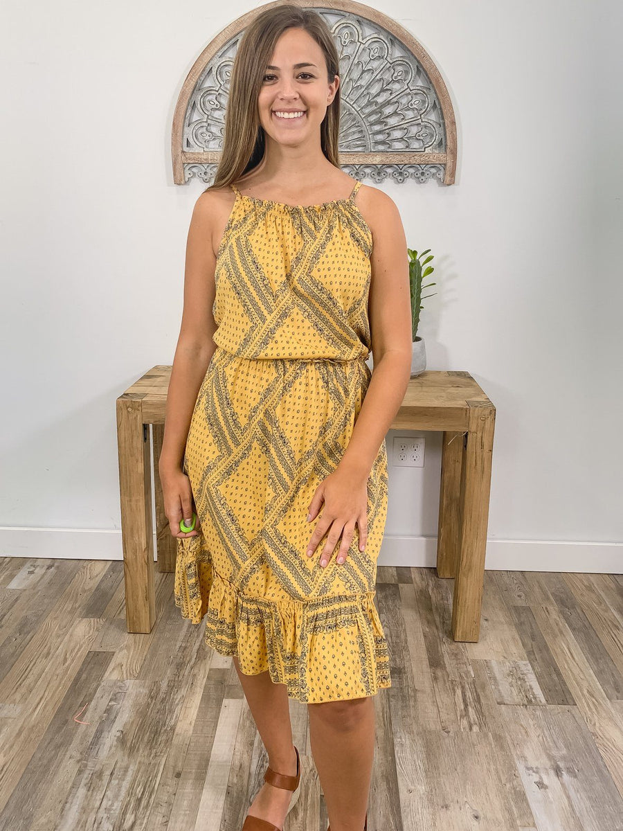 0d0d74a7e This Is My Wish Printed Spaghetti Strap Maxi Dress in Mustard Navy