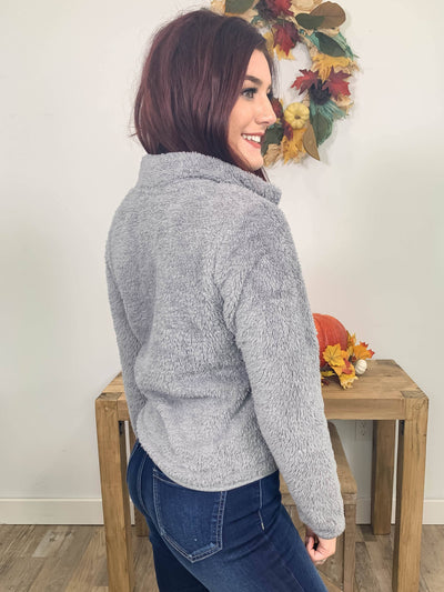 Away From Home Faux Fur Zip Up Jacket in Grey - Filly Flair