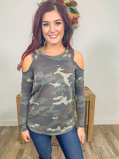 Time To Be You Cold Shoulder Long Sleeve Top in Camo - Filly Flair