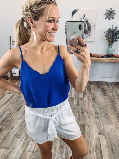 One Quick Second Spaghetti Strap Scallop Hem Tank Top in Royal Blue - Filly Flair