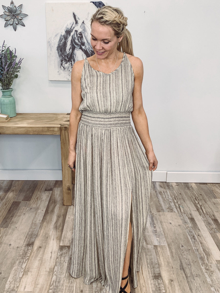 d6d170645179 Free Yourself Halter Striped Tie Back Maxi Dress in Oatmeal - Filly Flair