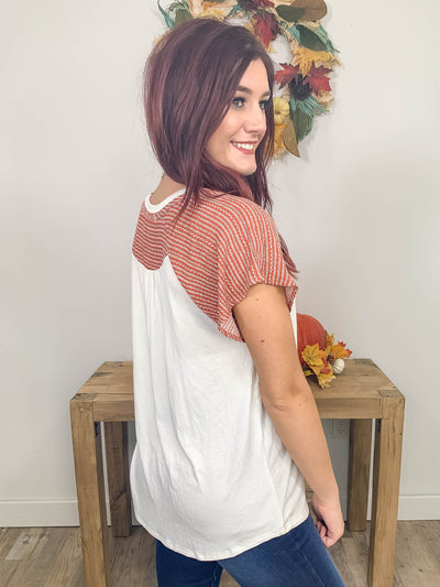 No Little Goodbyes Short Sleeve Top in Rust - Filly Flair
