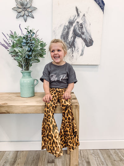 KIDS: Nothing Like You Metallic Leopard Print Flare Pants - Filly Flair