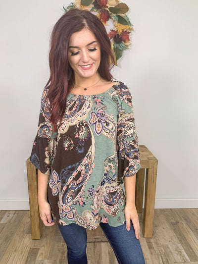 Paisley Dreams Printed 3/4 Bell Sleeve Boat Neck Top in Sage Brown - Filly Flair