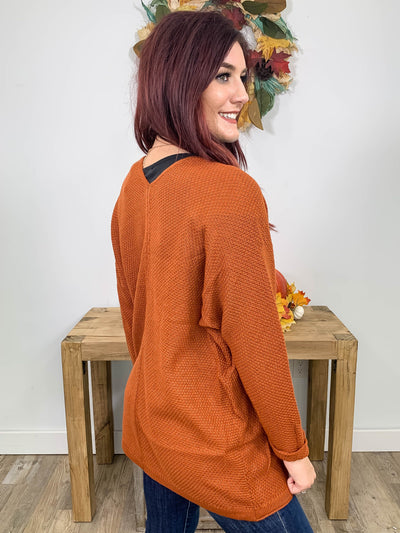 Let Me Blow Your Mind Waffle Knit Cardigan Open Front Long Sleeve in Amber - Filly Flair