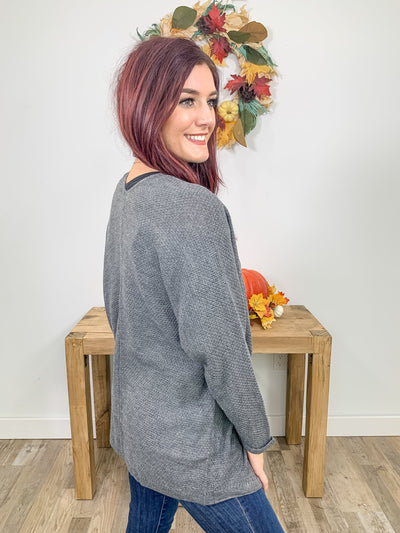 Let Me Blow Your Mind Waffle Knit Cardigan Open Front Long Sleeve in Charcoal - Filly Flair