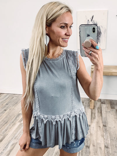 POL: The Day Starts Crochet Lace Babydoll Tank Top in Grey - Filly Flair