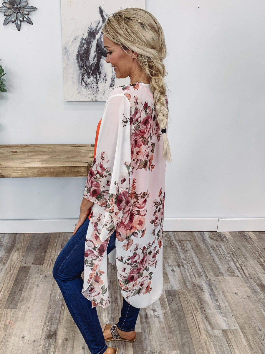 5efaea30 Know Your Place 3/4 Sleeve Floral Crescent Slit Kimono in White