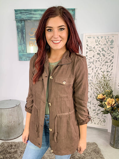 The Goddess In Me Elastic Waist Zip Up Jacket Pockets in Cocoa Brown - Filly Flair