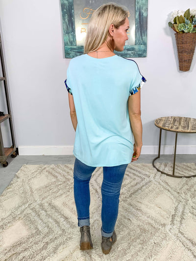Somewhere Out There Short Sleeved Printed Color Blocked Tee Shirt in Sky Blue - Filly Flair