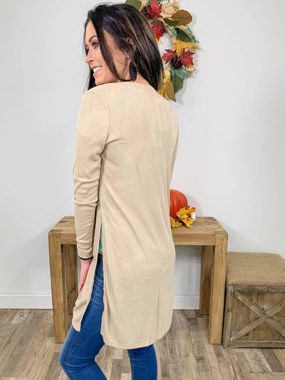 You're In Control Long Sleeve Ribbed Cardigan in Sand - Filly Flair