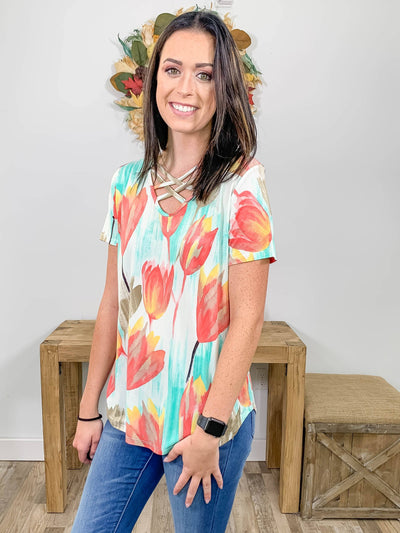 Be Bold With Tulip Printed Criss Cross Short Sleeve Top in Mint - Filly Flair