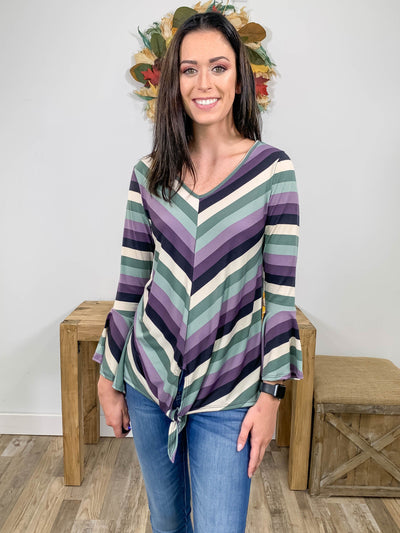 Show Me The Way Chevron Bell Sleeve Top in Purple - Filly Flair