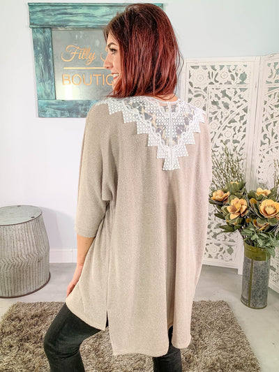 If Tomorrow Never Comes Lace Back 3/4 Sleeve Cardigan in Stone - Filly Flair