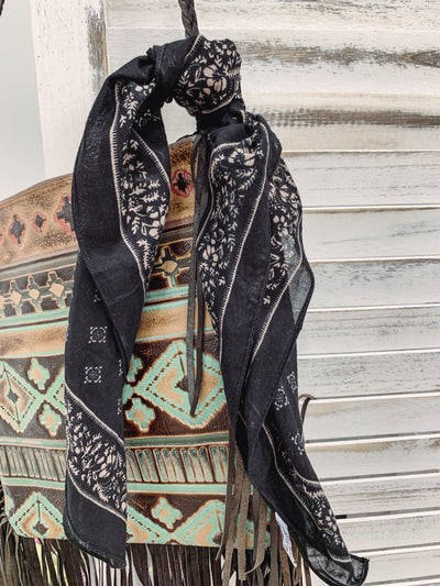 Every Step I Take Western Vintage Bandana in Black - Filly Flair