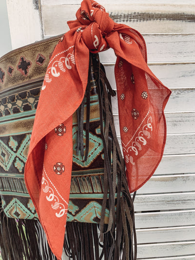 So True Western Paisley Bandana in Rust - Filly Flair
