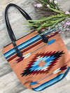 Country Weekend Aztec Print Zip Up Tote in Coral - Filly Flair