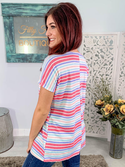 Carefree Days Striped Short Sleeve Top in Pink - Filly Flair