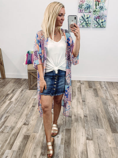 Front Porch Floral Short Sleeve Patchwork Kimono in Lavender White - Filly Flair