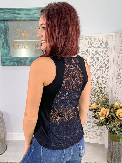 Never Really Over Lace Back Tank Top in Black - Filly Flair