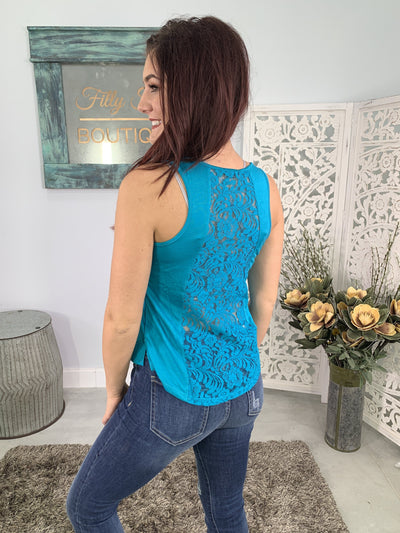 Never Really Over Lace Back Tank Top in Turquoise - Filly Flair