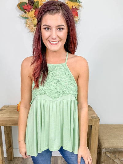 Days End Crochet Lace Detail Halter Tank Top in Sage - Filly Flair