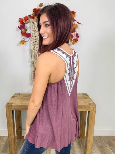 Here We Go Sleeveless Embroidered White Racerback Tank Top in Eggplant - Filly Flair