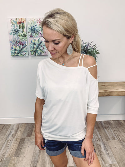 Get You Out of My Head Short Sleeve Strappy Cold Shoulder Top in White - Filly Flair