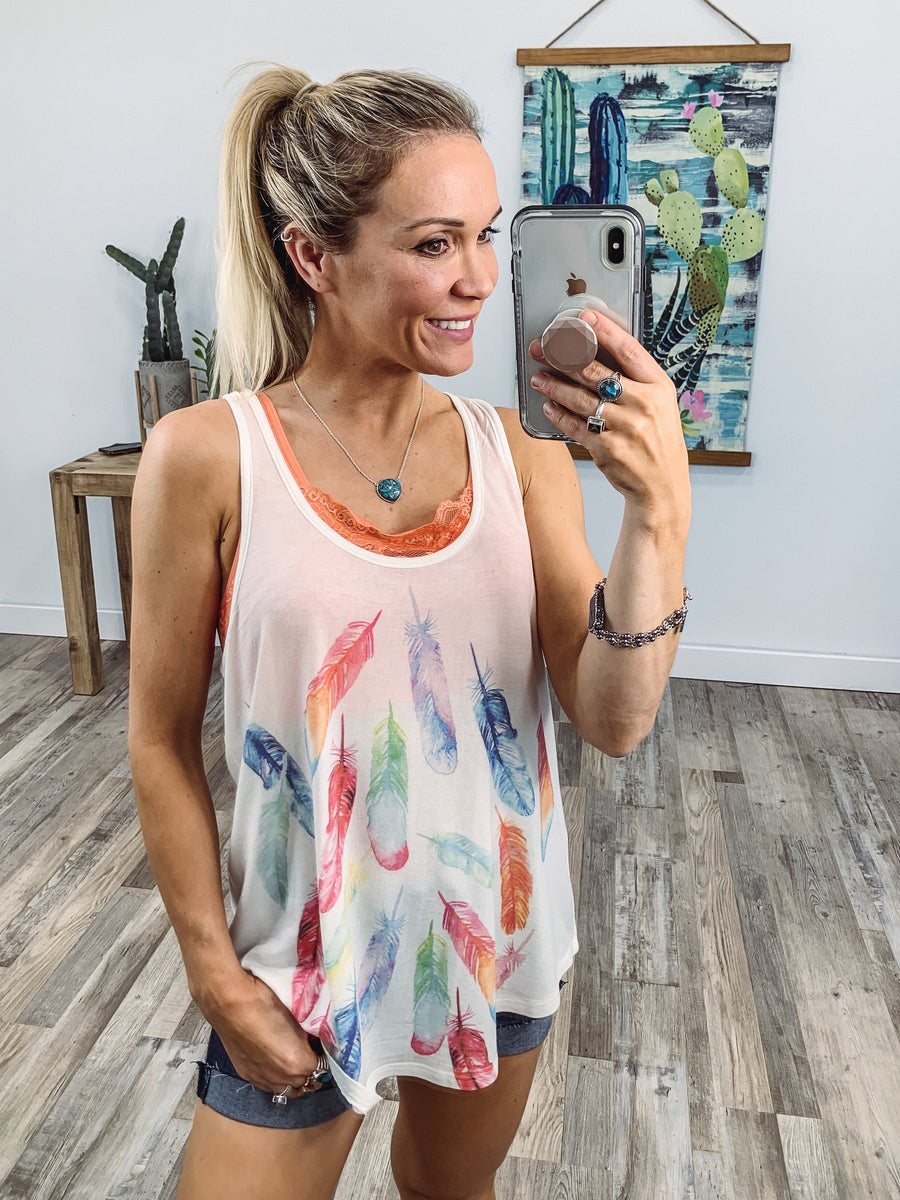 95218b37d3950 Change The World Multi-Colored Feather Racerback Tank Top in White