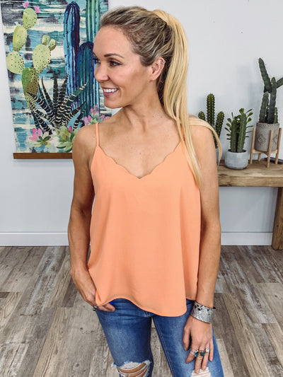 One Quick Second Spaghetti Strap Scallop Hem Tank Top in Peach - Filly Flair